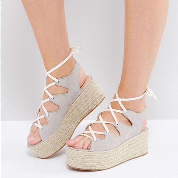 Pull&Bear Lace up espadrille in X4fhA3Ld